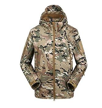3b3dd60afce28 TeyxoCo Men Outdoor Shark Skin WaterProof Breathable Fleece Hooded Tactical  Softshell Military Jacket Coat: Amazon.co.uk: Sports & Outdoors