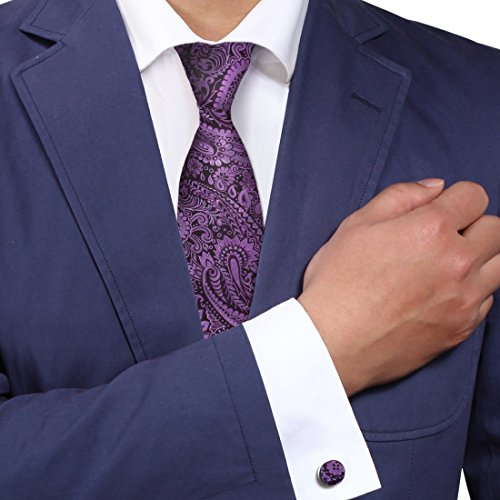 Purple Paisley Necktie, Cufflinks Present Box Set Xmas Gift Certificate Y&G Fashion Tie Set A2131 One Size Purple