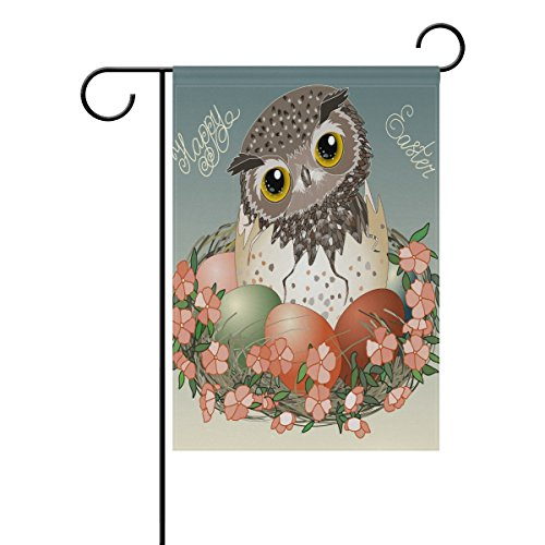 Vantaso Garden Flag Decorative Vintage Easter Owl Baby Bird With Egg Flowers Polyester Double Sided Printing Fade Proof for Outdoor Courtyards Garden 28×40 inch