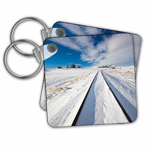 Danita Delimont - Washington - Washington State, Pullman, Railroad tracks running through the snow - Key Chains - set of 2 Key Chains - Running Snow Through
