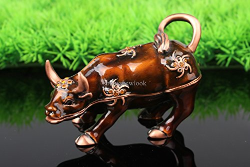 znewlook Enameled & Crystal Pewter Cow Trinket Jewelry Box Cow Jeweled Trinket Box