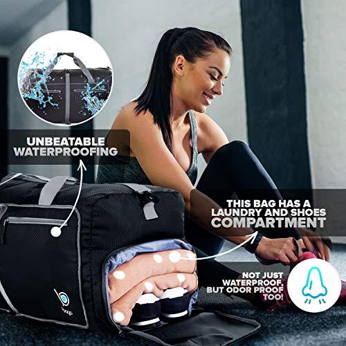 "51yyLudnJjL - Bago 60L Packable Duffle bag - 23"" Foldable Travel Duffel bag (Black)"