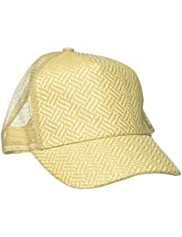 Women's Patterned Straw Baseball Cap With Mesh Back