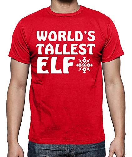 93db758d3e World's Tallest Elf Funny Sarcastic Humor Xmas Gift Holiday Fun Tee Men's  Shirt (Red,
