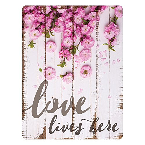 P. Graham Dunn Love Lives Here Floral Whitewash Design 16 x 12 Metal Tin Wall Sign Plaque