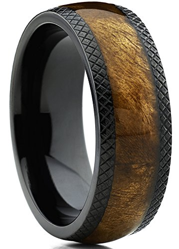 Wedding Band Ring with Real Marble Brown Wood Inlay, Comfort Fit 8mm SZ 9.5 (Titanium Dome)