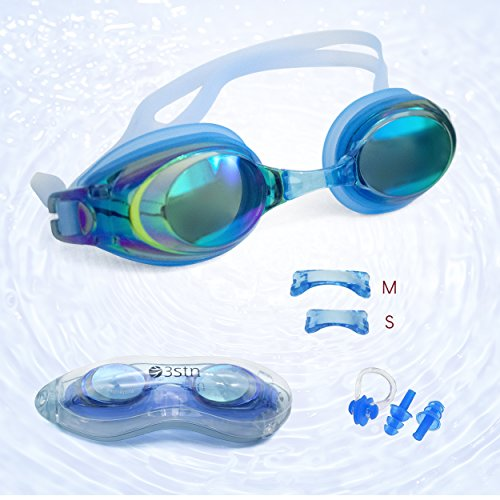 Swim Goggles + Ear and Nose Plugs - 3STN | Professional Athletic Glasses with UV + Leaking Protection, Fogproof, Mirrored for Pool, Outdoor, Triathlon | For Men, Women, Adults, Youth (blue)