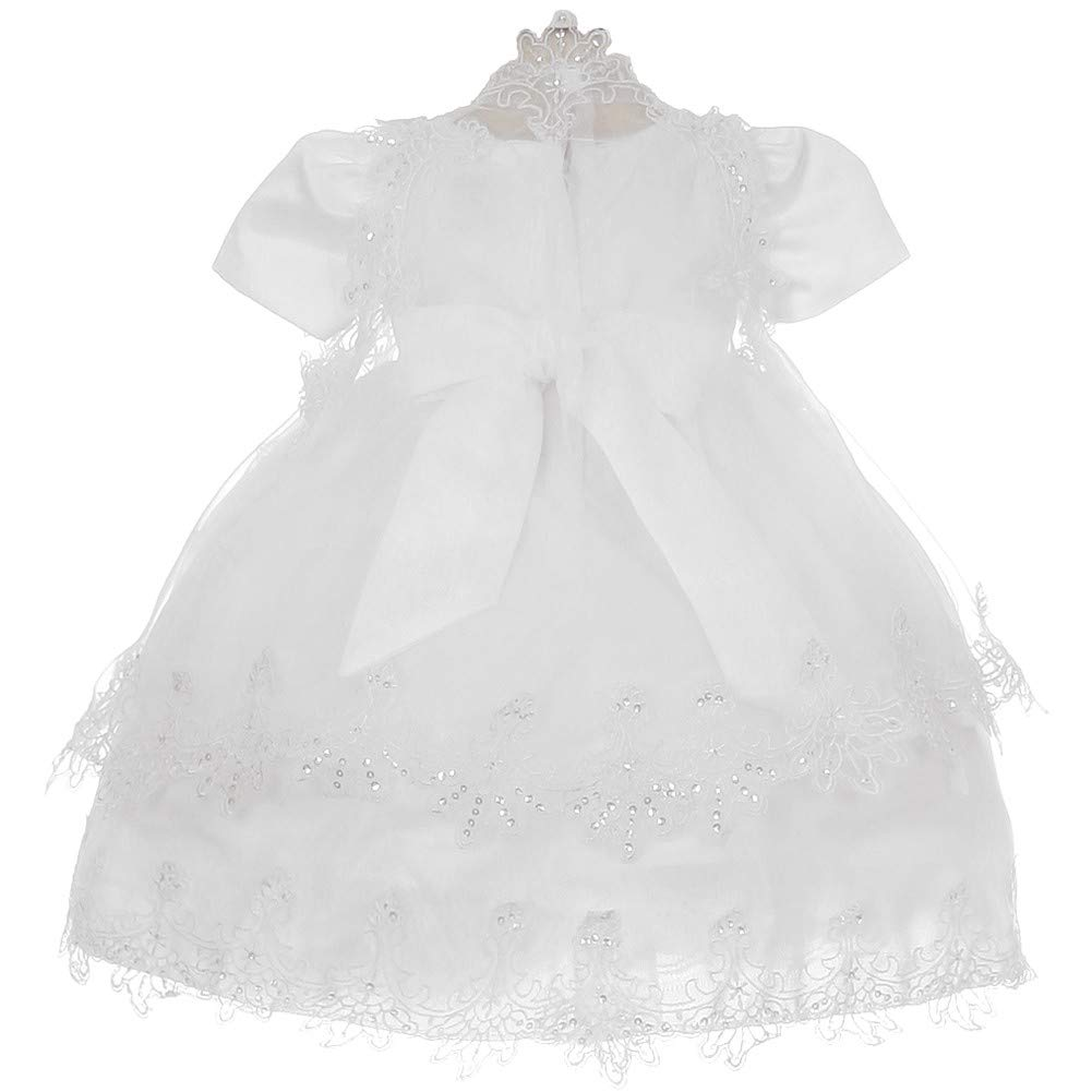 Baby Girls White Flower Beaded Virgin Mary Baptism Cape Cap dress Set 6-12M