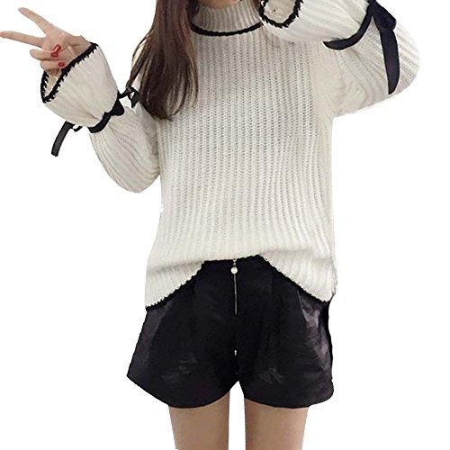 WOCACHI Damen Pullover Herbst Winter Frauen Cotton Elastic Twist Gestrickte Langarm Pullover (One Size, Weiß)