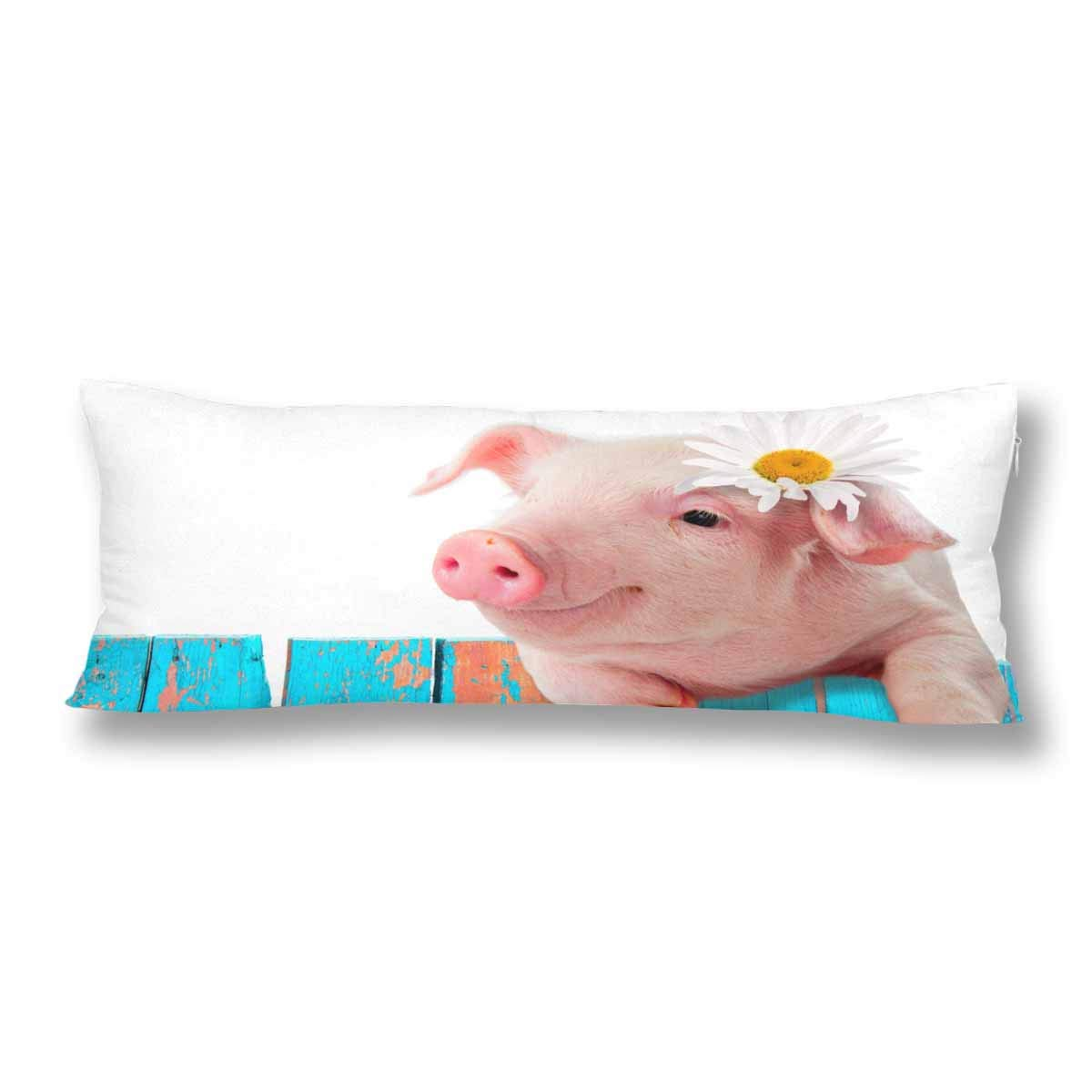 InterestPrint Cut Pink Pig Piglet Leaning on The Fence Lovely Animal Pillow Covers Pillowcase with Zipper 21x60 Twin Sides, Rectangle Body Pillow Case Protector for Home Couch Sofa Bedding Decorative