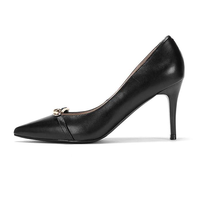 MHSXN Ladys 7CM Retro Pompes Formel Stiletto Pointu Chaussures Lady Confortable Noir Chaussures de Soirée,Black-EU:36/UK:4
