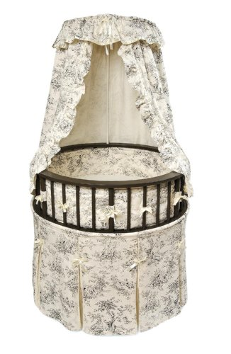 Badger Basket Elegance Round Baby Bassinet, Black with Black Toile (Round Mattress Bassinet)