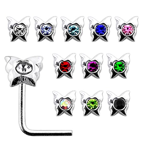20 Pieces Box Set of Jeweled Butterfly Top Sterling Silver L Bend Nose Stud Jewelry ()