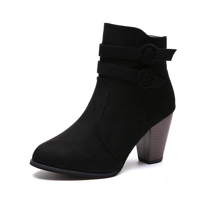 TWGDH Ante tacones mediados de los talones botines gruesos tacos de tacón-dedo del pie cremallera de tacón alto otoño zapatos de invierno para damas: ...