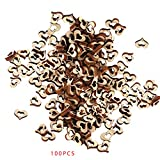 OmkuwlQ 100pcs Heart Shape Wooden Chip Wedding Photo Shooting Prop Decorations Eco-Friendly Ornament
