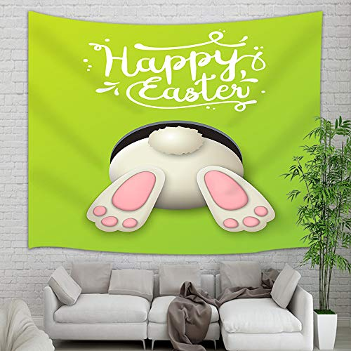 Frohe Ostern Tapestry Wall Hanging, Cartoon Easter Bunny Rabbit Wall Carpet Art for Home Decorations Student Dorm Decor Living Room Bedroom Bedspread TV Backdrop, Nail Included, 60