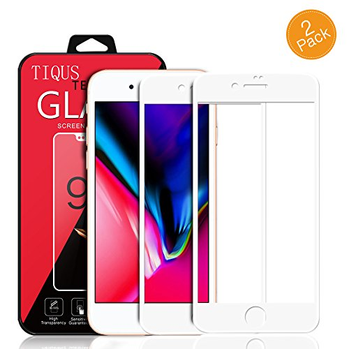 TIQUS 8 Plus 7 Plus Full Coverage Screen Protector, [2 Pack] 3D Curved Glass Screen Protector Compatible for Apple iPhone 8 Plus/iPhone 7 Plus [White] ()