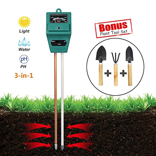 Water Gardening Lights (Soil Tester, 3 in 1 Soil Moisture Sunlight level and Soil PH Meter for Flowers, Plants, Lawn, Farm, Vegetable in Garden and Home)