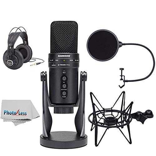 (Samson G-Track Pro Professional USB Condenser Microphone with Headphones + Samson Shockmount & Pop Filter + Clean Cloth)