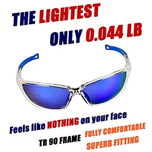O2O Polarized Sports Sunglasses [Tr90] Frame [One of the Lightest Sports Sunglasses] Only 0.044 Lb for Running Golf Driving Baseball Cycling Fishing Men Women Teens Youth
