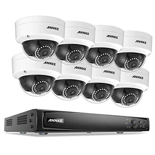 ANNKE Full 1080P Power over Ethernet Security Camera System 16 Channel 6MP NVR Recorder and (8) HD 2.0MP Outdoor Bullet IP Cameras with 100ft Night Vision, Motion Activated Mobile App Remote View