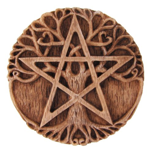 Small Tree Pentacle Wall Plaque Wood Finish - Pentacle Wall