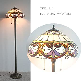 Flowery designed glass tiffany style floor lamp 16 amazon flowery designed glass tiffany style floor lamp 16quot aloadofball Choice Image