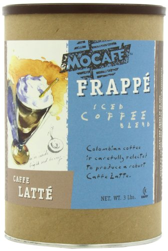 MOCAFE Frappe Caffe Latte Ice Blended Coffee, 3-Pound Tin Instant Frappe Mix, Coffee House Style Blended Drink Used in Coffee Shops