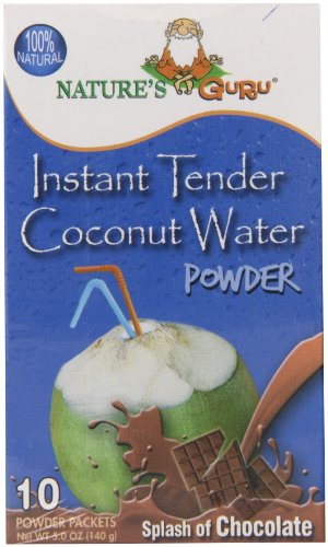 Nature's Guru Instant Tender Coconut Water Powder, Chocolate, 10 Count Single Serve On-the-Go Drink Packets (Pack of 8)