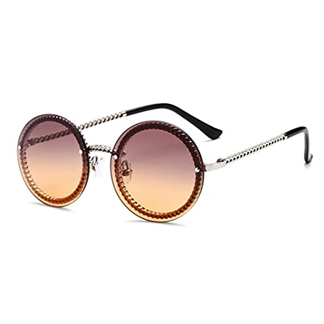 Yangjing-hl Gafas de Sol Redondas de Metal con Montura de ...