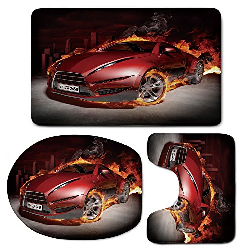 3 Piece Bath Mat Rug Set,Cars,Bathroom Non-Slip Floor Mat,Red-Sports-Car-Burnout-Tires-in-Flames-Blazing-Engine-Hot-Fire-Smoke-Automobile-Decorative,Pedestal Rug + Lid Toilet Cover + Bath Mat,Red-Blac