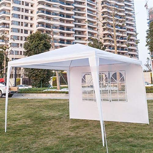 Leoneva 9 10 x 9 10 Three Sides Portable Shade Waterproof Tent for Outdoor Party Wedding Commercial Activity Pavilion BBQ Beach Car Shelter White Three Sides