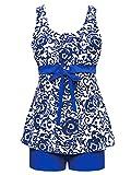 Zando Women's Floral Printed Swimdress Swimsuit Two Piece Swimwear Plus Size Tankini with Boyshort Bathsuits for Teens