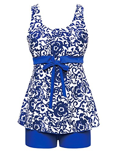 2 Piece Onesie Short (Zando Women's Floral Printed Swimdress Plus Size Swimsuit High Waist Tankini with Boyshort Two Piece Bathsuit For Teen B Royal Blue Floral XL (US Size 10-12))