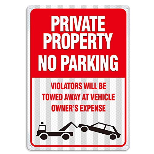 Towed Parking Sign - No Parking Sign Private Property Sign Violators Will Be Towed Sign, Professional Reflective 10x14in Rust Free 40 Mil .63 Aluminum Industrial Warning Signs,Inspiration of LOOKTHED