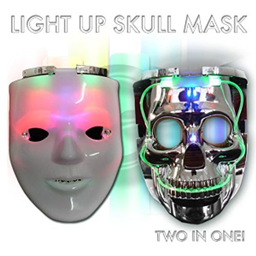 LED Light-Up Blank Man/Skull Mask-Unique 2 in 1 rave mask -