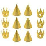 Cosmos 12 PCS Birthday Party Cone Hats Crown Laurel Hats with Ropes (Gold)