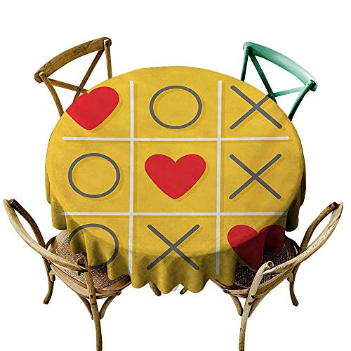 (Jbgzzm Round Tablecloth Love Tic-Tac-Toe Game with XOXO Design Let Me Kiss You Valentines Romantic Illustration Table Decoration D35 Yellow Red)
