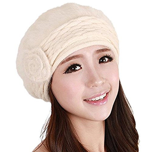 Angora Hat (Women Winter Warm Soft Beanie Protective Ear Angora Knit Beret Hat Cap(Beige))