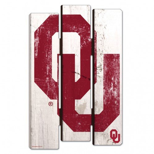 Wincraft NCAA University of Oklahoma Wood Fence Sign, Black