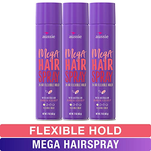 Aussie Mega Hairspray, with Jojoba Oil & Sea Kelp, Flexible Hold, 17 fl oz, Triple Pack