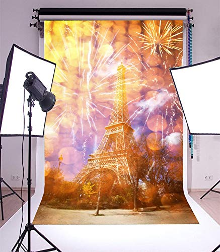 3x5ft Vinyl Photography Backdrop New Year Eiffel Tower Paris France with Fireworks City Landscape Scene Photo Background Children Baby Adults Portraits Backdrop