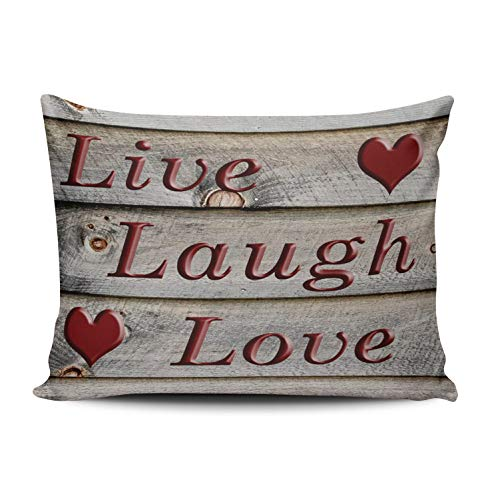 XIUBA Pillowcases Red Live Laugh Love on The Side of a Barn Customizable Cushion Decorative Rectangle 12x16 inch Boudoir Size Throw Pillow Cover Case Hidden Zipper One Side Design Printed ()