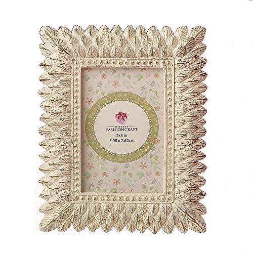 72 Ivory and Brushed Gold Leaf Design Place Card Frames/Photo Frames ()