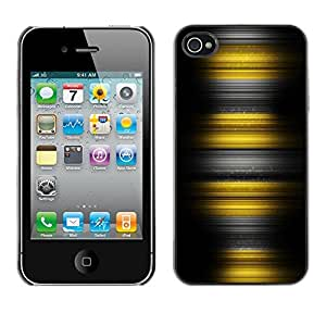 YiPhone /// Prima de resorte delgada de la cubierta del caso de Shell Armor - Yellow Stripes - Apple iPhone 4 / 4S