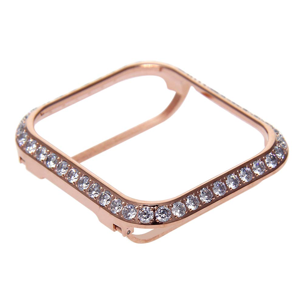3.0mm Big Size Bling Rhinestone Diamond case Crystal Bezel Compatible with Apple Watch Series 3 Series 2 Series 1 38mm 42mm Series 4 40mm 44mm-Rose Gold (44mm) by sun3flower