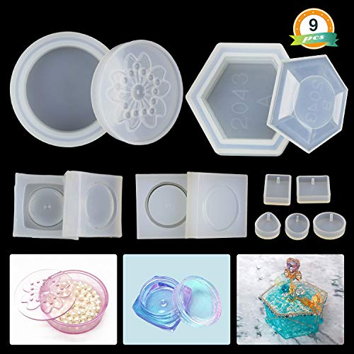 Silicone Resin Molds LET'S RESIN 4 Pack Resin Molds for Jewelry - Medium Size Sakura Hexagon Resin Box Molds with Lid and 2Pcs Cute Mini Clear Silicone Molds & 5Pcs Pendant Molds (Hexagon Gift Box Craft)