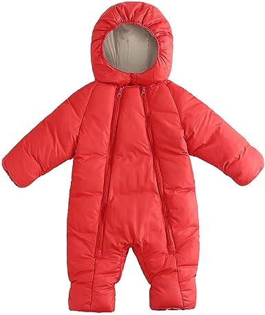 Newborn Baby Snowsuit Infant Winter Coat Hooded Zipper Pure Color Jumpsuit Outerwear Romper for Boys Girls