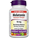 Webber Naturals Melatonin, Maximum Strength, Dual Action, Timed Release, 10 Mg, 60-Count