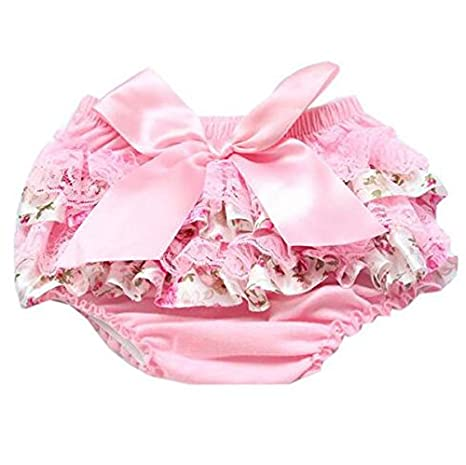 Luckystaryuan 3 Pieces Baby Girls Satin Ruffle Bloomers Nappy Diaper Covers